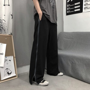 Men Casual Pants Side Zipper Pocket Couple Solid Mens Trendy Harajuku Chic Loose Streetwear All-match Straight Ins New Trendy