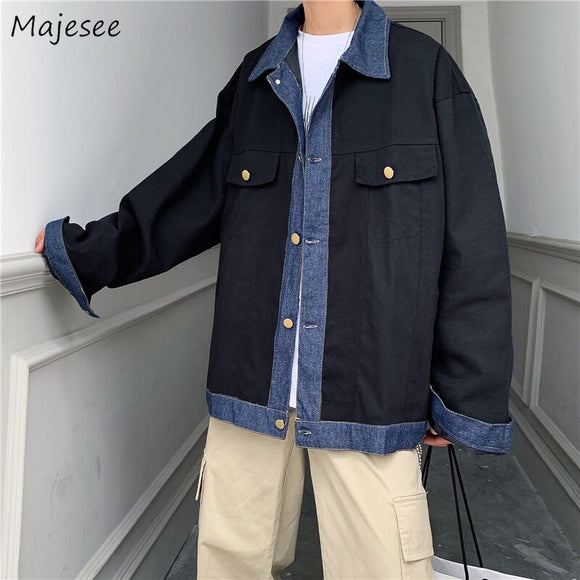 Men Jacket Turn-down Collar Casual Retro Black Coat Mens Jackets and Coats Plus Size Hip Hop Clothes High Quality All Match Chic