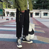 Men Casual Pants Pockets Cargo Bundle Printed Chic Trendy Large Size 3XL Loose Mens Korena Style Adjustable Harajuku New Ulzzang