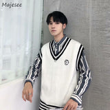 Sweater Vest Men Fashion Leisure V-neck Patchwork Korean Preppy Style Jumpers Character Embroidery Students Comfortable Soft Fit