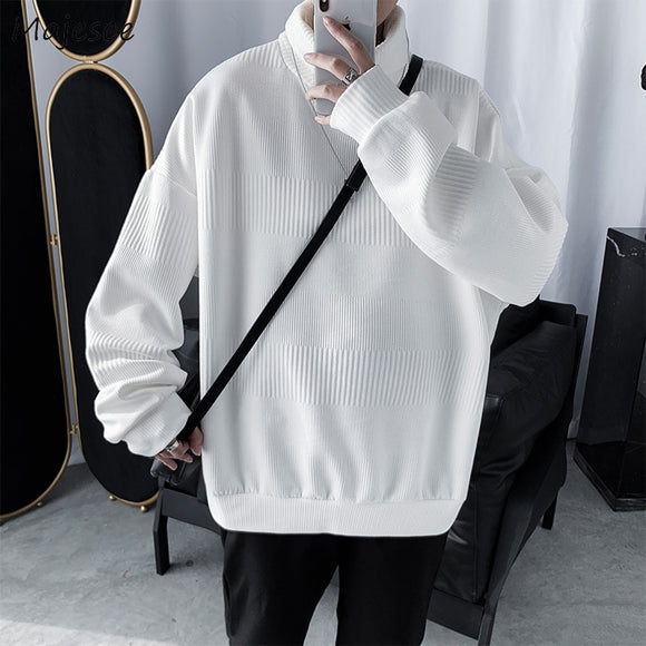 Men Sweaters Solid Turtleneck Simple Korean Style All-match Plus Size 2XL Loose Trendy BF INS Mens Leisure Harajuku Ulzzang