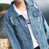 Men Denim Jackets Holes Plus Size 3XL Turn-down Collar Solid Simple All-match Korean Style Oversize Mens Teens Harajuku Chic New