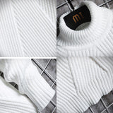 Men Turtleneck Sweater Winter Simple Mens Outwear Pullovers Male Tops Striped Thicken Warm Cozy High Quality Korean Style Casual
