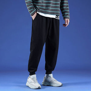 Men Casual Pants Plus Size 4XL Loose Solid Simple Cotton Bodybuilding Bundle Mens Ankle-length All-match Chic Harajuku Fashion