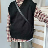 Sweater Vest Men Korean Style Fashion Leisure Simple V-neck Students Sweaters Loose Solid Sleeveless Outwear All-match Vintage