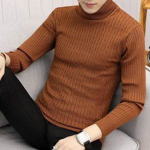 Men Turtleneck Sweater Winter Hot Selling Mens Tops Basic Knit Soft Cozy All-match Simple Twist-pull Daily Bodycon Plus Size 5XL