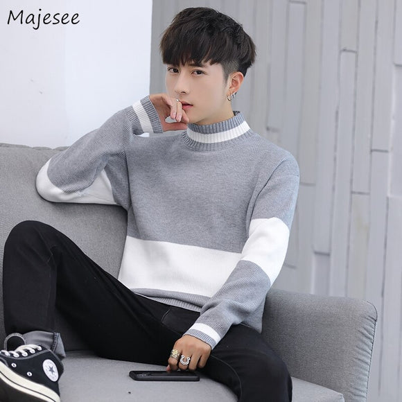 Men Half Turtleneck Sweaters Pullover Patchwork Slim Knitted Basic All-match Simple Plus Size 3XL Korean Fahsion Style Trendy