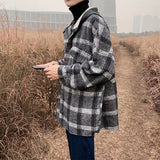 Plaid Jackets Men Winter Thick Basic Loose Korean Retro Streetwear Outwear Stitching Hat Mens Patchwork Simple Daily Jacket New