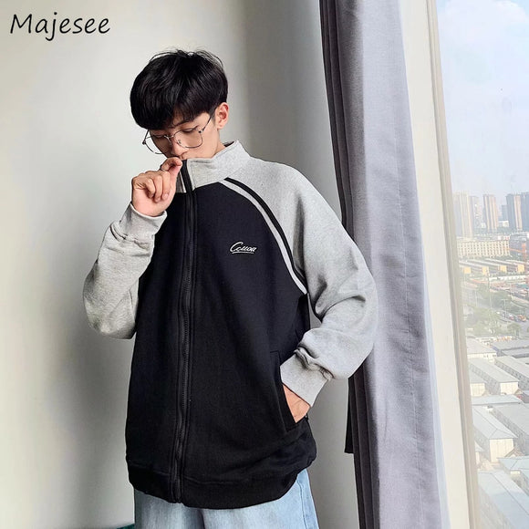 Coat Men Plus Size Simple Novelty Patchwork 3XL Leisure Harajuku Clothes Korean Streetwear Mens Jackets and Coats Long Jacket