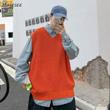 Sweater Vest Men V-neck Autumn-winter Solid Knitted Korean-style Loose Sweaters Pleated BF Leisure All-match Sleeveless Ulzzang