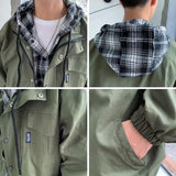 Jackets Men Patchwork Fake 2 Pieces Oversize 3XL Harajuku Streetwear All-match Korean Chic Ulzzang Mens Coat Daily Fashion HOT