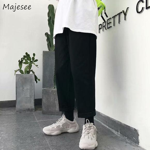 Pants Men Korean Streetwear High Fashion Solid Leisure Loose All Match Mens Ankle-length Males Hot Sale Sweatpants Hip Hop Chic