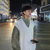 Men Sweater Vest Solid V-Neck Simple Design Street Outwear Knitted Males Leisure Chic Loose Trendy Korean Style All-match Warm