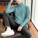Men Turtleneck Sweaters Winter Fleece Soft Breathable Solid Simple Design All-match Basic Oversize 4XL Fit Fashion Casual Daily