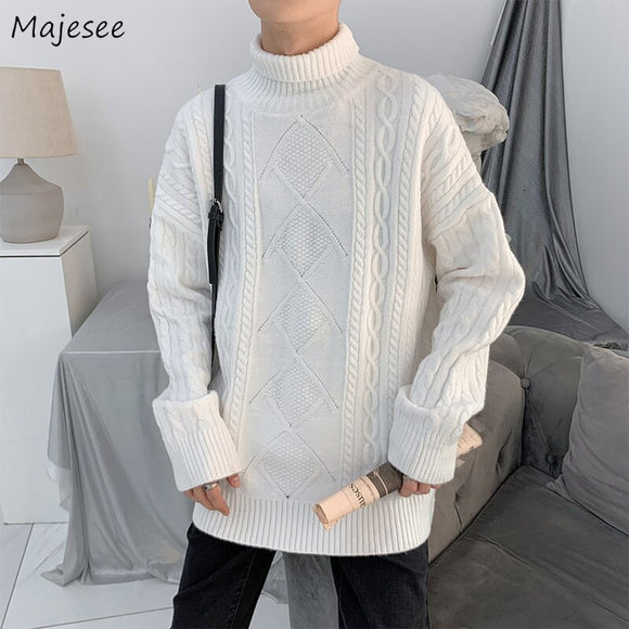 Men Turtleneck Sweaters Solid Simple Loose Criss-cross All-match Knitted Pullover Korean Fashion Style Trendy Students Leisure