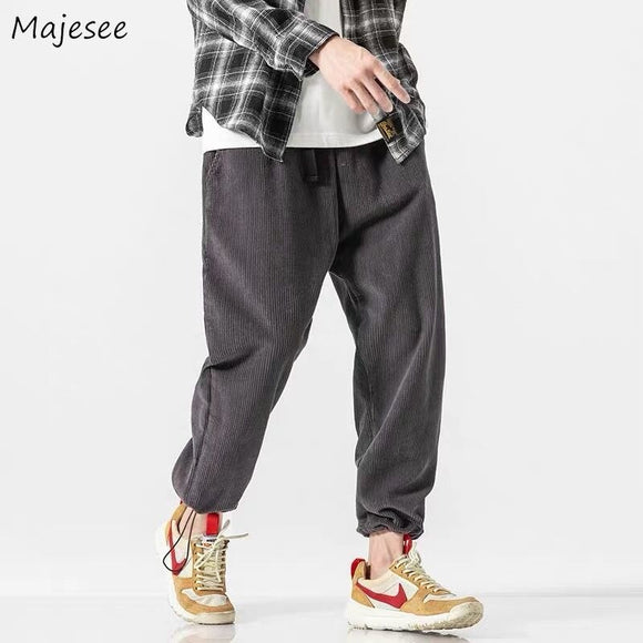 Casual Cargo Pants Loose Corduroy Retro Chic Ankle-length Leisure Mens Korean Style Adjustable Bundle All-match Elastic Waist