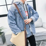 Men Jackets Leisure Daily Outwear Korean Style Loose Ulzzang Harajuku Plus Size 3XL Oversize Turn-down Collar Hole Mens Trendy