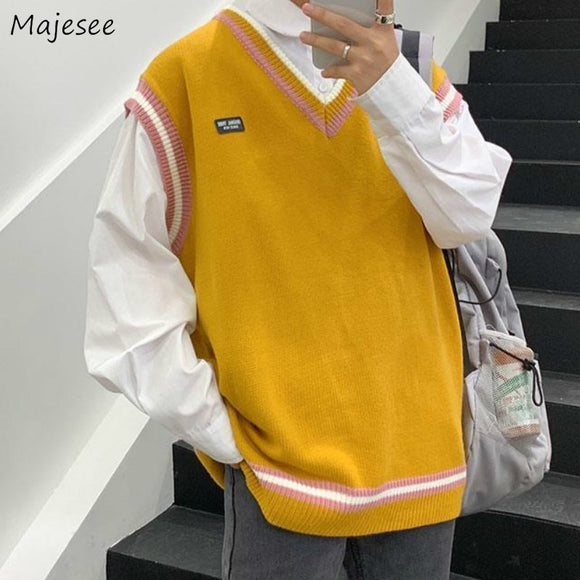 Sweater Vest Men V-ncek Oversize Patchwork Leisure Mens Vests Korean Style Ulzzang Chic All-match Vintage Fit Students Trendy BF