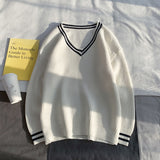 Sweaters Men Pullovers V-neck Preppy Style Couples All-match Loose Chic Stylish Teens Autumn Winter Leisure Ins Fashion Retro BF