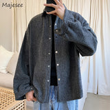 Jackets Men Woolen Blends Solid Turn-down Collar Thick High Quality Coat Mens All-match Loose 2XL Korean Style Chic Workwear New