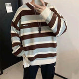 Striped Pullovers Men O-neck Long-Sleeve Loose All-match Harajuku Stylish Korean Fashion Casual Sweaters Knitted Students BF New