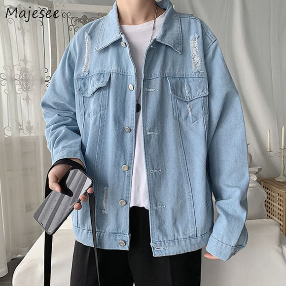 Denim Jacket Men Single Breasted Casual Harajuku Long Sleeve Mens Jackets and Coats Loose Males BF Plus Size Clothes All Match