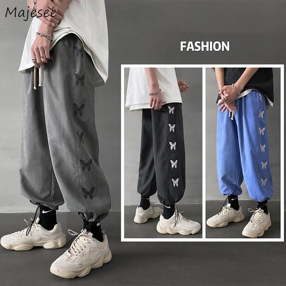 Casual Pants men butterfly-printed ankle length lace-up harajuku ins fashion leisure loose mens trousers streetwear tees new BF