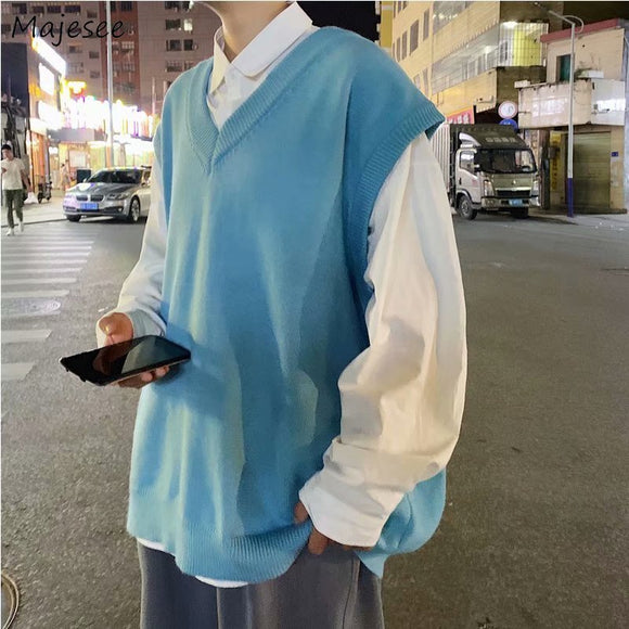 Men Sweater Vest Solid Simple Design V-Neck Knitted Males Leisure Chic Loose Trendy Street Outwear Student Couple Retro Harajuku