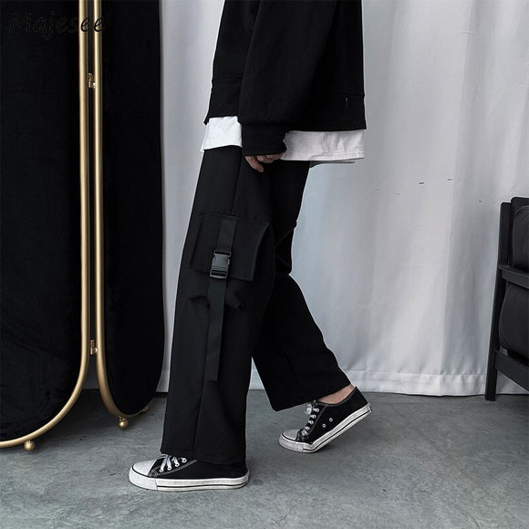 Men Casual Pants Knee Pockets Solid Black Wide Leg Mens Loose Trendy Chic Streetwear Ulzzang Korean Style All-match BF Ins New