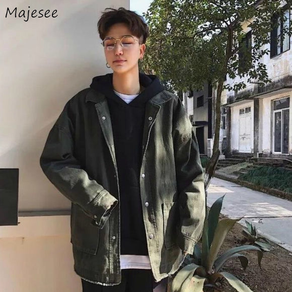 Jackets Men Solid Casual Denim Jacket Vintage  Loose Oversize Simple  Coat Korean Style Chic Harajuku Trendy Retro Handsome Male