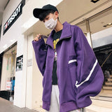 Jackets Men Stand Collar Zipper Striped Puff Sleeved Simple All-match Korean Style Jacket Mens Leisure Pockets Loose Harajuku