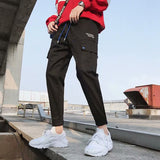 Pants Men Letter Printed Pockets Leisure Simple All-match Korean Style Ulzzang Trousers Mens Students Cargo Pant Harajuku Chic
