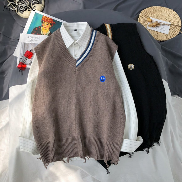 Men Sweater Vest V-Neck Print Smile Embroidery Asymmetric Lovely Males Leisure Chic Trendy Knitted Student Outwear Vintage Loose