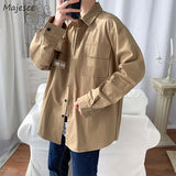 Men Jackets Letter Turn-down Collar Single Breasted Long Sleeve Pockets Japanese Style Ins Trendy All-match Baggy Handsome Coats
