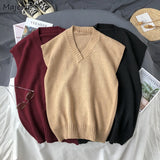 Men Sweater Vest Solid V-Neck Simple Design Knitted Males Leisure Chic Loose Trendy Student Street Outwear Warm Korean Style New