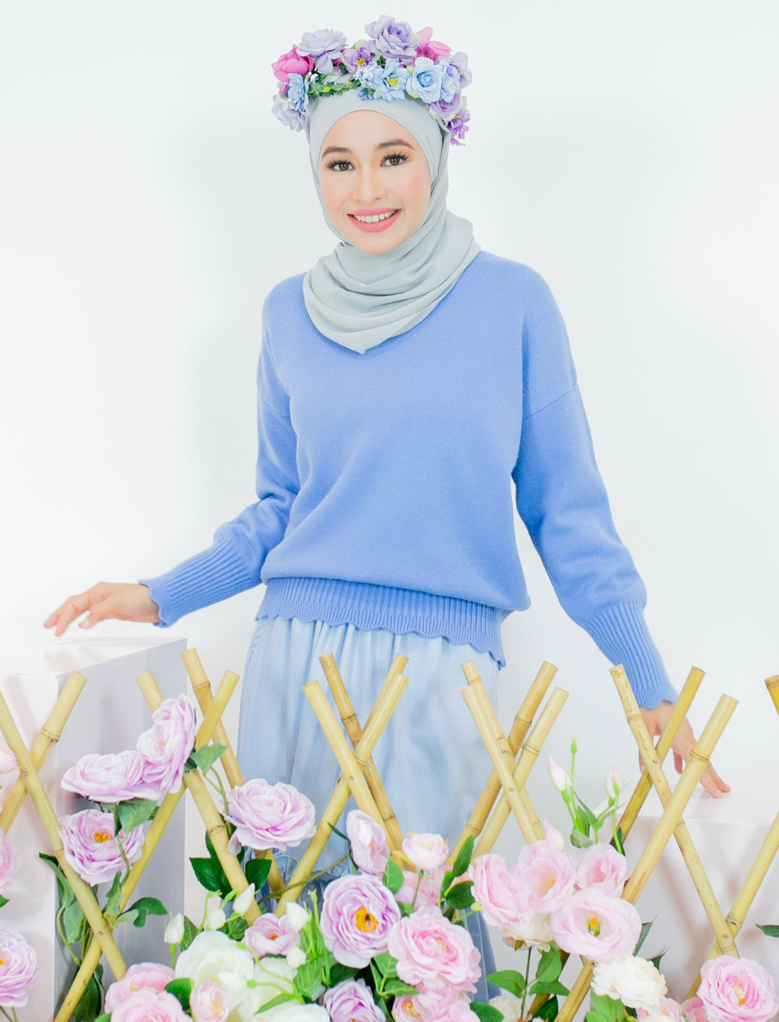 Andree Knitted Top in Sky Blue