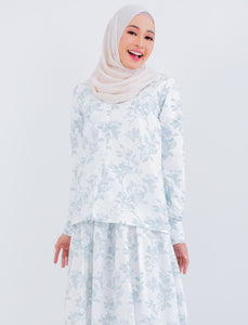 Mekar Top in White Dusty Mint