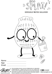 EcoSplat reusable water balloon at the beach colouring page