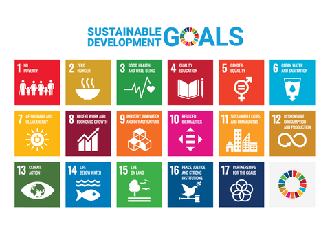 Icons of the UN Sustainable Development Goals. UN Agenda 2030 for environmental sustainability, social sustainability and economic sustainability