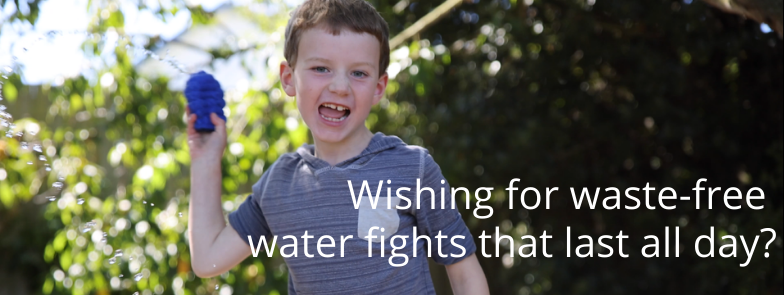 Boy throwing reusable water balloons. Caption: Wishing for waste-free water fights that last all day?