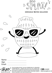 EcoSplat reusable water balloon with sunglasses on colouring page