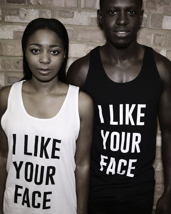 I Like Your Face Black Vest Top - Female Model