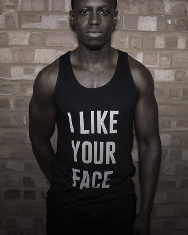I Like Your Face Black Vest Top - Male Model