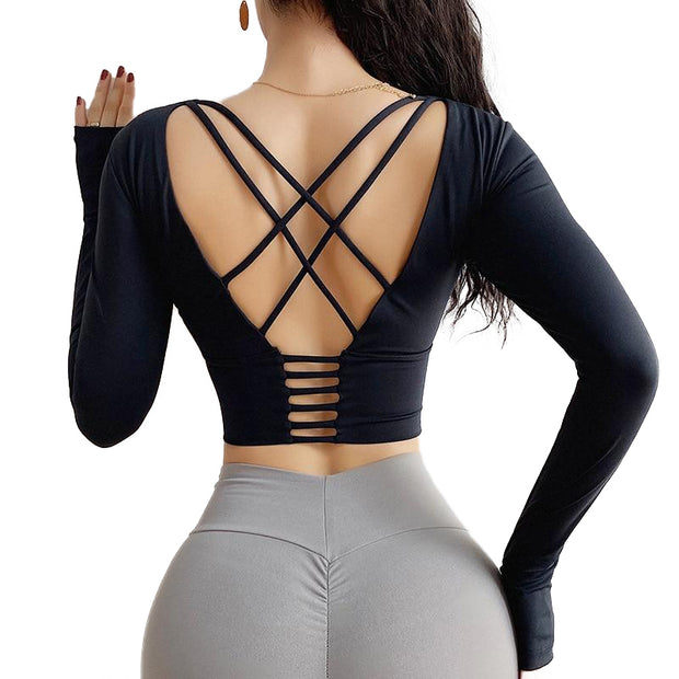 Cross Back Long-Sleeve Top