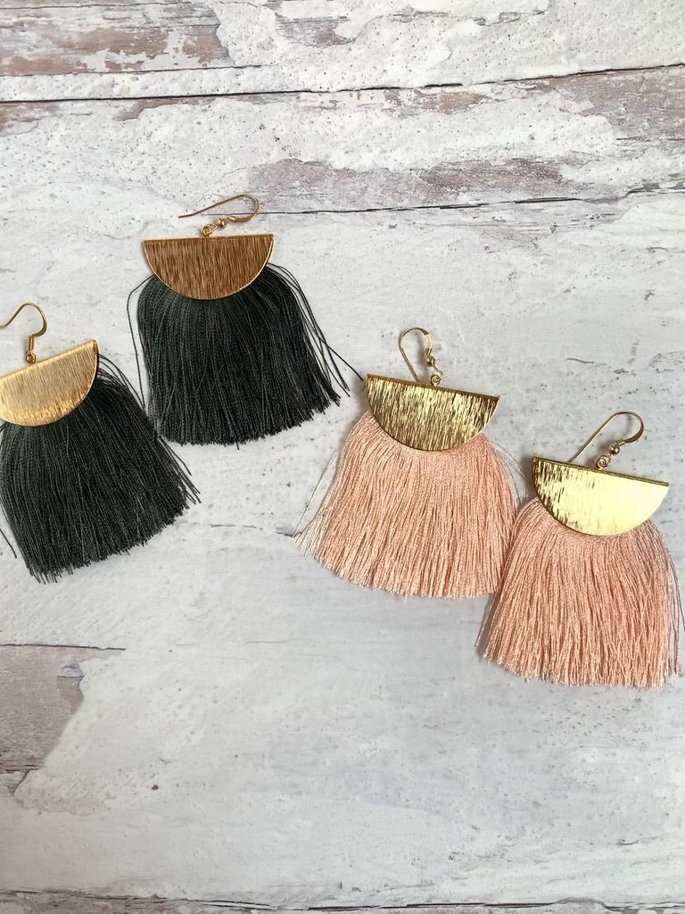 Boho Mamma Gold Tassel Earrings