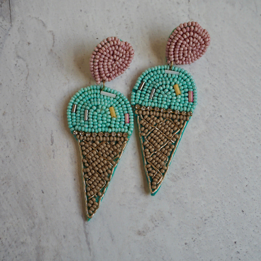 Beaded Ice Cream Earrings