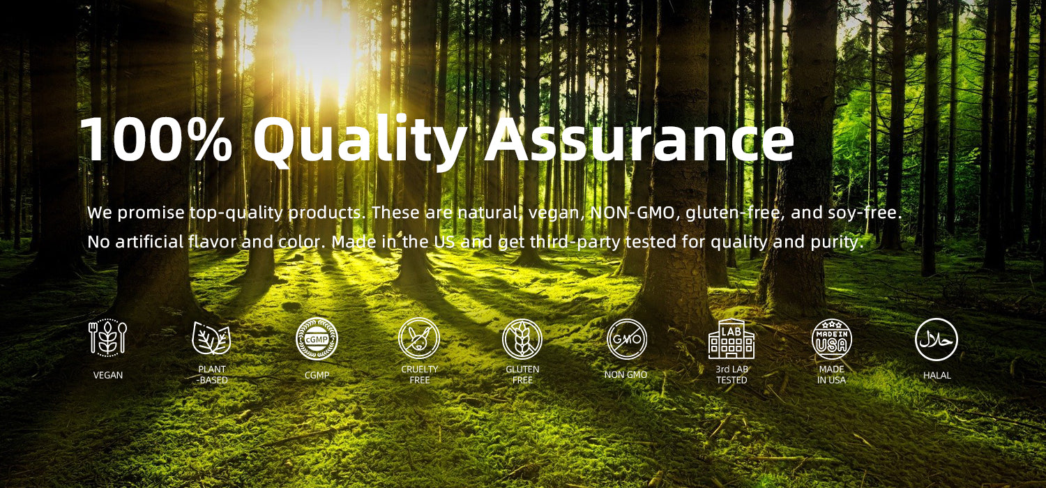 Our goal is to create premium real natural supplements that really work for consumers. We promised high-quality products and eliminate unnecessary chemicals. All non-artificial certified vegan, gluten-free, NON-GMO, and cruelty-free fresh ingredients. All products are made, maunfactured in the USA and get third-party tested for quality and purity.  Together, let's enjoy the gifts from nature by taking Vegepower pure plant-based supplements!