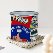 Load image into Gallery viewer, Eriba Sticker Bomb Enamel Tin Outdoors Mug [295ml]