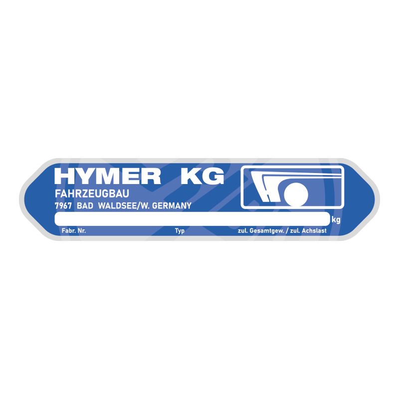 HYMER Eriba Replacement Serial Number Plate Plaque Badge Aluminium