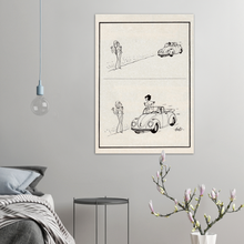 Load image into Gallery viewer, Volkswagen Beetle 1970s Poster - Roadside Rejection Hoviv Cartoon